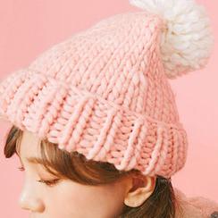 chuu - Pompom Wool Blend Chunky-Knit Beanie