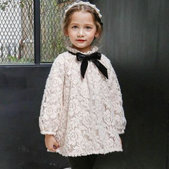 Cuckoo - Kids Long-Sleeve Lace Panel A-line Dress
