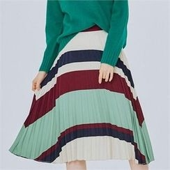 MAGJAY - Zip-Back Pleated Pattern Skirt