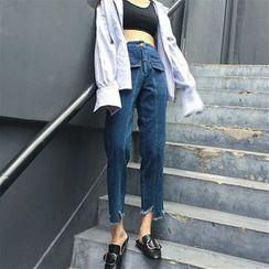 CosmoCorner - 假口袋松紧腰裤脚不规则直筒牛仔裤