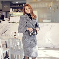 DABAGIRL - Set: Tweed Cape + Shawl-Collar Coatdress