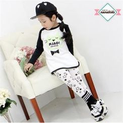 nanakids - Girls Set: Cat Print T-Shirt + Star Pattern Leggings