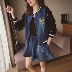 Cocofield - Set: Sequined-Sleeve Denim Jacket + A-Line Denim Skirt
