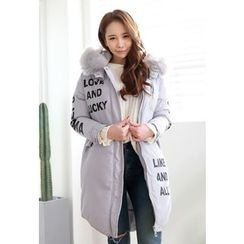Dalkong - Faux-Fur Hood Long Padded Coat