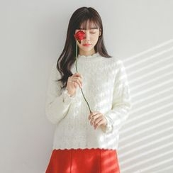 JUSTONE - Scallop-Edge Furry Crochet-Knit Top