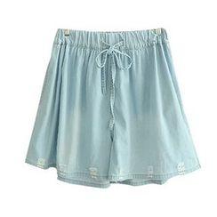 白金天使 - 抽繩牛仔裙褲
