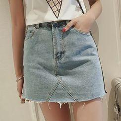 Diado - Fray A-Line Denim Skirt