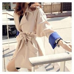 OTTI - Contrast Cuff Trench Coat with Sash