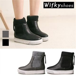 Wifky - Knit-Panel Mid-Calf Boots