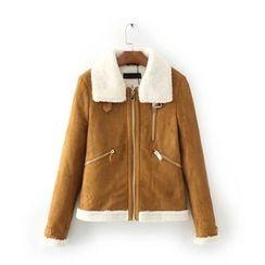 Amoura - Fleece Collar Faux Suede Jacket
