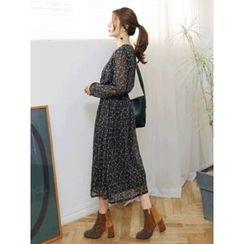 LOLOten - Gathered-Waist Pattern Chiffon Long Dress