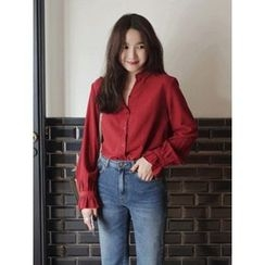 maybe-baby - Open-Placket Pleated-Trim Blouse