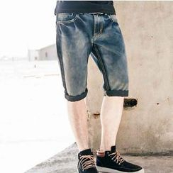 SeventyAge - Gradient Washed Denim Shorts