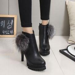 IYATO - 毛毛边鞋跟及踝靴