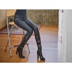 UUZONE - Faux-Leather Zip-Accent Skinny Pants