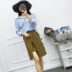 Be Bonita - Set: Fringed Shirt + Wrapped Pencil Skirt
