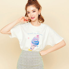 chuu - Sequined Ice Cream Print T-Shirt