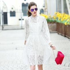 Queen Mulock - Long-Sleeve Lace Dress