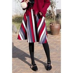 migunstyle - Band-Waist Striped Midi Skirt