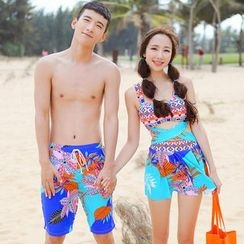 Beach Date - Couple Cross-Front Patterned Swimsuit