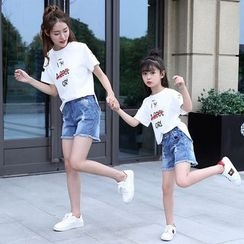 PAM - Family Matching Set: T-Shirt + Denim Shorts