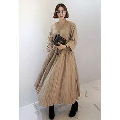 Miamasvin - Raglan-Sleeve Long Empire Dress