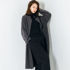 FASHION DIVA - Notched-Collar Open-Front Knit Coat