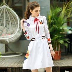 洛圖 - 刺繡翻領連衣裙