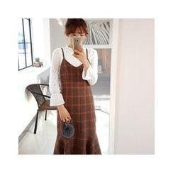 LEELIN - Check Long Pinafore Dress