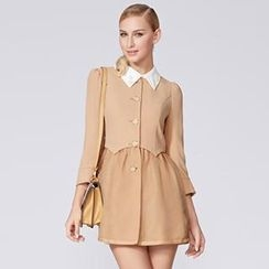 O.SA - Detachable-Collar Tulle Panel Trench Coat