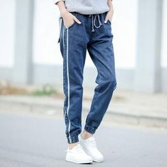 Snow Flower - Drawstring Jogger Jeans