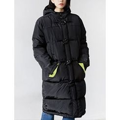 FROMBEGINNING - Hooded Toggle-Button Duck-Down Long Padded Coat