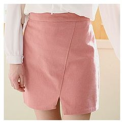 Sechuna - Band-Waist Slit-Front Pencil Skirt