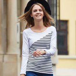 Ranee - Long-Sleeve Striped Panel T-Shirt