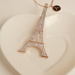 Love Generation - Rhinestone Eiffel Tower Necklace