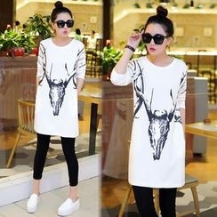 Yvette - Deer Print Long-Sleeve Tunic