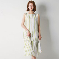 FASHION DIVA - Sleeveless Stripe Long Dress