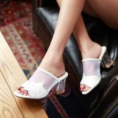 Tomma - 水鑽粗跟涼鞋