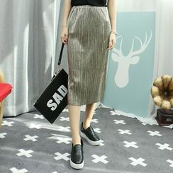 Dodostyle - Band-Waist Pleated Pencil Skirt