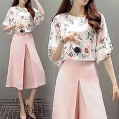 lilygirl - Set: Floral Print Elbow Sleeve Chiffon Blouse + Capri Wide Leg Pants