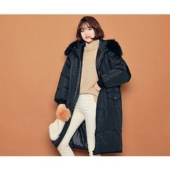 HOTPING - Faux-Fur Zip-Up Padded Jacket