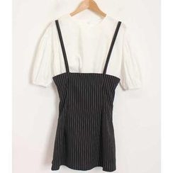 Momewear - Set: Puff-Sleeve Top + Suspenders Skirt