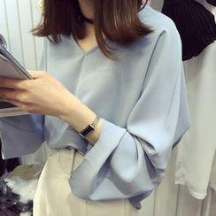 MATO - Plain V-Neck Long-Sleeve Chiffon Blouse