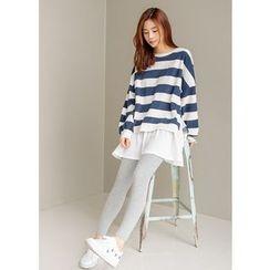 J-ANN - Layered-Hem Striped Pullover Dress