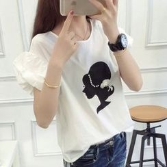 anzoveve - Girl Print Puff Sleeve T-Shirt