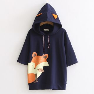 Nycto - Elbow-Sleeve Print Hooded T-Shirt