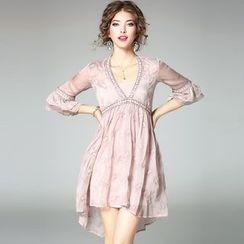 Ozipan - Beaded Ruffled A-Line Dress