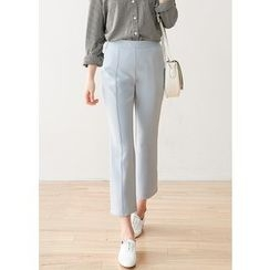 J-ANN - Banded-Waist Seam-Front Pants
