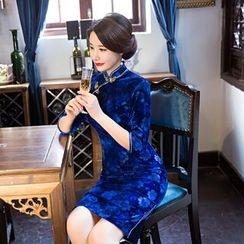 Janelle Qipao - 3/4-Sleeve Floral Cheongsam