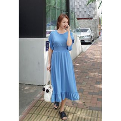 BBORAM - Flutter-Sleeve Smocked-Waist Long Dress